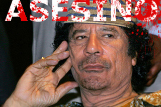 "Imagen de Gadafi con la palabra ""asesino"""