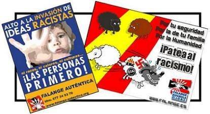 Carteles de FA y FEJONS contra el racismo