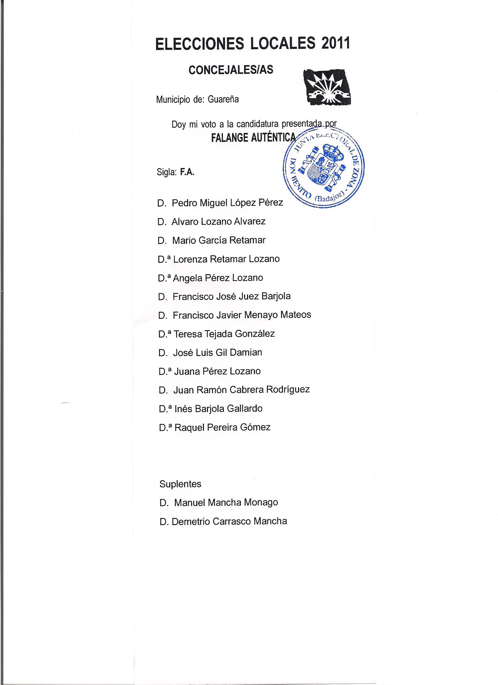 Listas de Falange Auténtica en Guareña a las Municipales de 2011